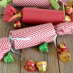 Christmas Crackers | SimplyCelebrate.Meals.com - Start a new tradition with homemade Christmas crackers, full of festive candy goodies!  Perfect gifts or stocking stuffers. #simplycelebrate