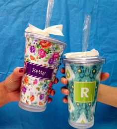 Personalized Tumbler Cup with Straw Textile by BlueSuedeStitches