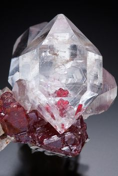 "themineralogist: "" A cluster of double terminated Quartz on red lustrous Cinnabar by Kiyoshi Kiikuni """