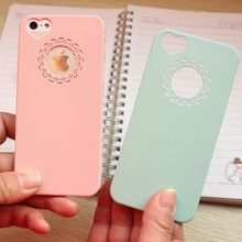 Cute candy Color Loving Heart Flower Lace Hard Phone Case Cover Coque For iPhone…