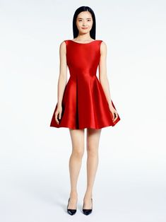 Lovely red silk dress with a full skirt — we can't wait to wear this to our Christmas party! | Kate Spade Open Back Silk Mini Dress. Click to shop similar styles.