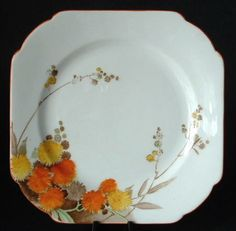 Shelley Art Deco Acacia Salad Plate Orange Yellow Square 1930s Vincent Shape