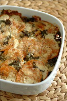 Gratin patate douce, chou kale & parmesan