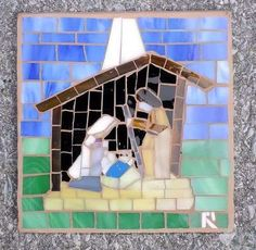 57 Fabulous Nativities on Etsy! Christmas Banners, Christmas Nativity, Christmas Items, Christmas Decorations, Mosaic Crafts, Mosaic Art, Mosaic Tiles, Creative Connections, Mosaic Crosses