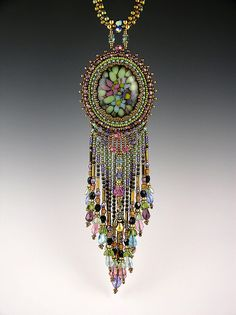Bead embroidered fused glass necklace by Beaded Art Jewelry, via Flickr