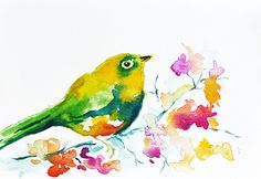 Bird with Flowers - ORIGINAL Watercolor art  / Spring Bird / Bright colors 6x8 inch
