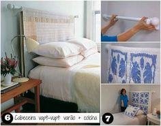 curtain rod + blanket = headboard that's easy to switch out and/or clean! Diy King Headboard, Headboards For Beds, Diy Home Decor Easy, Diy Home Decor Bedroom, Hm Deco, Apartment Couch, Creative Home, Home Living Room, Decoration