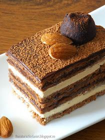 "Bucataria Stefaniei: Tort ""Opera"" Romanian Desserts, Romanian Food, Food Cakes, Cupcake Cakes, Tiramisu Recipe, No Cook Desserts, Sweet Cakes, Ice Cream Recipes, Desert Recipes"