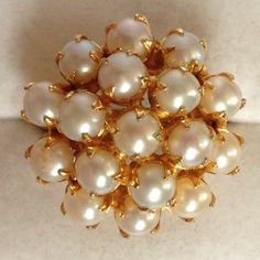 Genuine Pearl Cluster Ring - Swaboda gold-plated sterling silver