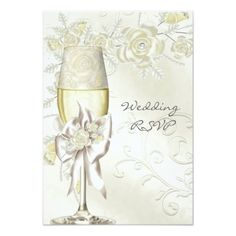 RSVP Wedding Gold Cream Pearl Floral Roses