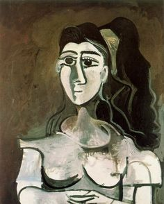 Pablo Picasso. Buste de femme au ruban jaune (Jacqueline). 1962 year