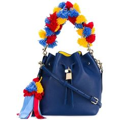 Dolce & Gabbana pom-pom bucket tote (£1,695) ❤ liked on Polyvore featuring bags, handbags, tote bags, blue, leather bucket bag, bucket tote bag, blue leather purse, handbags totes and leather tote