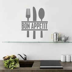 Bon Appetit Cutlery Kitchen Vinyl Wall Art Sticker - £4.99 : BluntOne.com, Affordable bespoke vinyl signs and graphics.