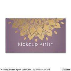 Make-upkünstler-elegantes Goldverziertes Visitenkarten