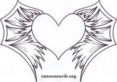 black heart tattoo,heart with bat wings,bat wing tattoo,wing tattoo stencil