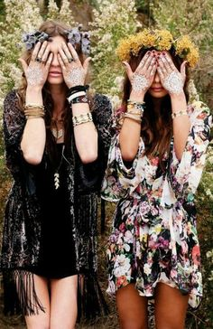 Black Tasseled Overshirt and a Simple Black Dress with Bangles, Pendants, Bracelets, and Flower Accessories; Floppy Long Sleeved Floral Dress with a Flower Crown and an Assortment of Stylish Wrist Bands - http://ninjacosmico.com/22-beautiful-boho-chic-outfits-try/