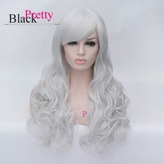 Good Quality Curly Gray Wig Cosplay Long Curly Synthetic Hair Gray Wavy Cosplay Wig With Bangs Party Wig,High Quality cosplay lace front wig,China cosplay wig blonde Suppliers, Cheap cosplay ponytail from Black Pretty Hair