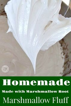 Homemade Marshmallow Fluff used as a topping for cakes or use as a frosting. It contains Marshmallow root and is refined sugar-free. Marshmallow Fluff Frosting, Homemade Marshmallow Fluff, Marshmallow Treats, How To Make Marshmallows, Homemade Marshmallows, Easy Icing Recipe, Frosting Recipes, Sugar Free Recipes, Candy Recipes