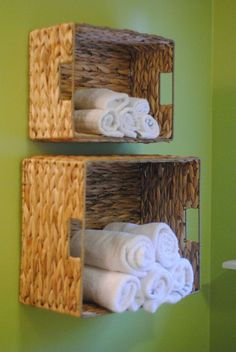 Easy Bathroom Towel Storage Idea-- such a clever idea for small spaces! She made this for just a few dollars and in under 15 minutes! ideas for small bathrooms cheap DIY Bathroom Towel Storage in Under 5 Minutes Bathroom Towel Storage, Bathroom Towels, Bathroom Baskets, Bathroom Wall, Downstairs Bathroom, Bathroom Shelves, Laundry Baskets, Toilet Storage, Bathroom Closet