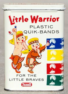 Rexall Little (blond!) Warrior Plastic Quik-Bands, 1950's (via roadsidepictures on flickr)