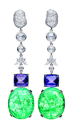 One-of-a-kind Private Reserve 18k Violet Sapphire and Emerald Earrings