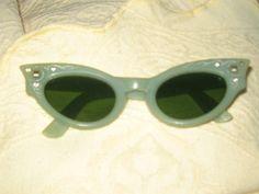1950s rhinestones   Cat  Eye Jadite   GREEN by Linsvintageboutique, $34.50
