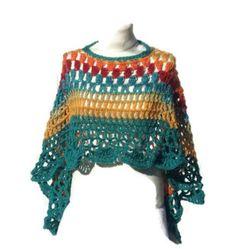 Rainbow Circular Asymmetric Long Poncho Shawl Handmade Unbalanced Design Caron Cakes Yarn Buttermilk Rainbow Hand Crocheted Ready To Ship