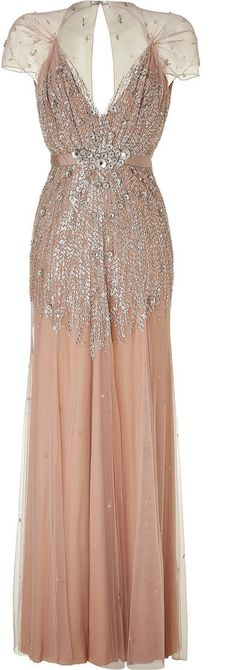 Circa 1920s. Sequined blush pink gown