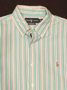 Men's Ralph Lauren Polo Striped Button Down Oxford Large | eBay