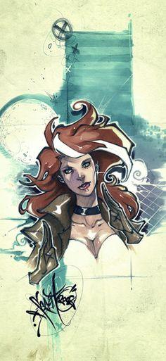 30 Stunning Graffiti Style Illustrations by Filipe Aguiar Comic Book Characters, Comic Character, Comic Books Art, Comic Art, Character Design, Gambit X Men, Rogue Gambit, Marvel Art, Marvel Dc Comics