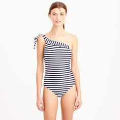 0a8cdb2bef Long torso one-shoulder one-piece swimsuit in classic stripe