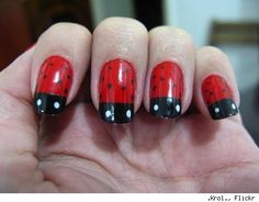 28 Amazing Fingernail Art Designs - love this ladybugs design, would be great on toes & fingers!