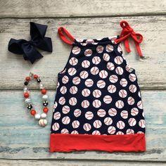 Summer design baby girls  baseball season style boutique ruffles cottonn dress belt outfit clothes matching accessories