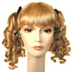 Beautifully crafted curly pigtail style with bangs, ribbons, and two fully banana-curled pigtails Makes a brilliant Little Bo Peep among other options!Check out our selection of bright colors in this style as well as our range of natural colors! All in top-quality synthetic fiber