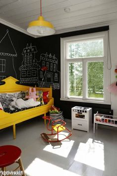kids room.. Simple yet interesting, uncluttered, love the bold contrast of colors yet somehow still feels calm.