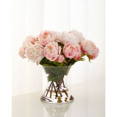 John-Richard Collection Peonies N Pink Faux-Floral Arrangement (1.510 BRL) ❤ liked on Polyvore featuring home, home decor, floral decor, pink, peony silk flowers, faux flowers, fake flowers, faux floral and pink artificial flowers