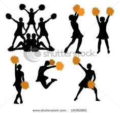 Pictures of Cheerleaders in Silhouette, Somewhat Orange Pom-Poms – Stock Photo