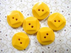 Vintage Art Deco Yellow Casein Buttons Set  by ChocolateBayouShop, $4.00