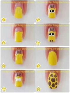 Cute Nail Tutorials for Your New Manicure Cute Giraffe Nail Art Nail Art Pastel, Nail Art Diy, Easy Nail Art, Cool Nail Art, Diy Nails, Cute Nails, Colorful Nails, Nail Nail, Giraffe Nails