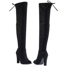 DasiaH3 Black F-Suede by Forever Link, Over Knee Thigh High Boots w... ($37) ❤ liked on Polyvore featuring shoes, boots, thigh high, peep toe over the knee boots, chunky black boots, over-knee boots, black suede over the knee boots and tie back over the knee boots