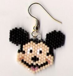 Hand beaded happy mouse face dangle earrings by jjsims43 on Etsy, $8.00