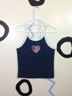 90s American Flag Glitter Heart Halter Top by badatpettingcats, $22.00