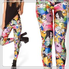"Wholesale  New Fashion 2014 Women Printing Leggings ""black milk style ""Adventure Time Bro Ball Leggings Spandex Cheap Best $21.98"