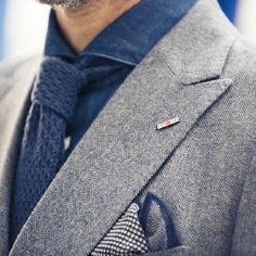 Details | Intricate: Grey and blue; wool