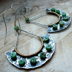 Silver Wire Wrapped Oxidized Hammered Earrings by YagnaWireJewelry, $69.00