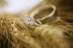 Three diamond halo Engagement Ring
