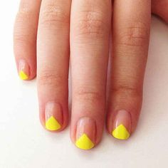 Image viaLatest 45 Easy Nail Art Designs for Short Nails viaScotch Tape is Your Frien Neon Nail Art, Neon Nails, Yellow Nails, Love Nails, Pretty Nails, Neon Yellow, Red Nail, Pink Nail, Ombre Nail
