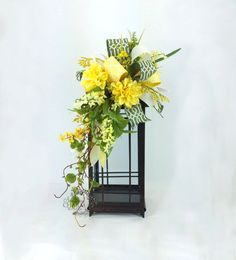 Summer Lantern Swag with Dahlias and Wild Flowers in Yellow & Green, Easter Lantern Swag, Spring Decor, Floral Swag, Gifts for Her Lantern Centerpieces, Lanterns Decor, Floral Centerpieces, Decorative Lanterns, Wedding Lanterns, Wedding Reception Decorations, Lanterns With Flowers, Fleur Design, Silk Arrangements