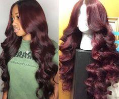 Burgundy Hair Black Girl, Hair Color For Black Hair, Hair Colour, Birthday Hair, 17th Birthday, Birthday Outfits, Body Wave Hair, Weave Hairstyles, Baddie Hairstyles