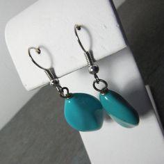 Large Plastic Turquoise LIke Dangle Earrings by SalvagedJewelry, $15.00